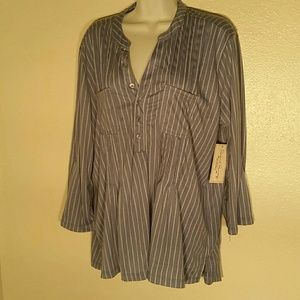 French Laundry Blue Striped Blouse. L